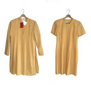 NWT Vintage Escada Yellow Dress Jacket Set 36 Sm.
